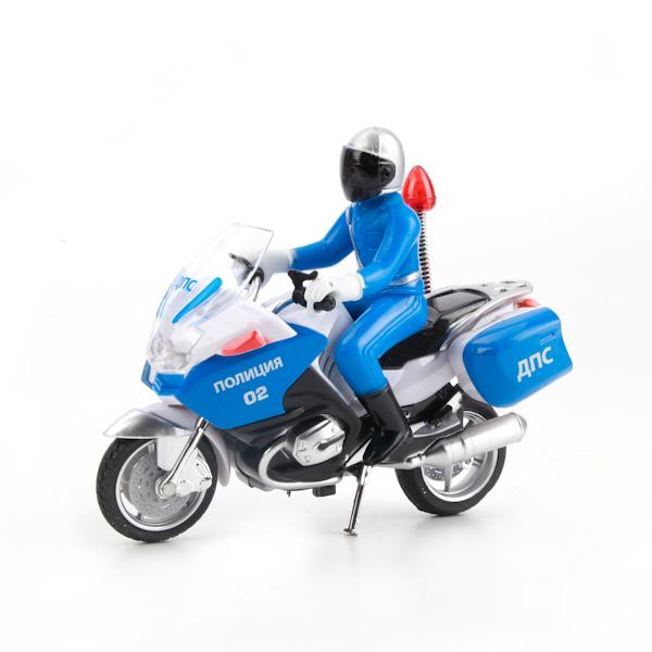 Металлический мотоцикл – ДПС – с фигуркой - со световыми и звуковыми эффектами – 13 смМотоциклы<br>Металлический мотоцикл – ДПС – с фигуркой - со световыми и звуковыми эффектами – 13 см<br>