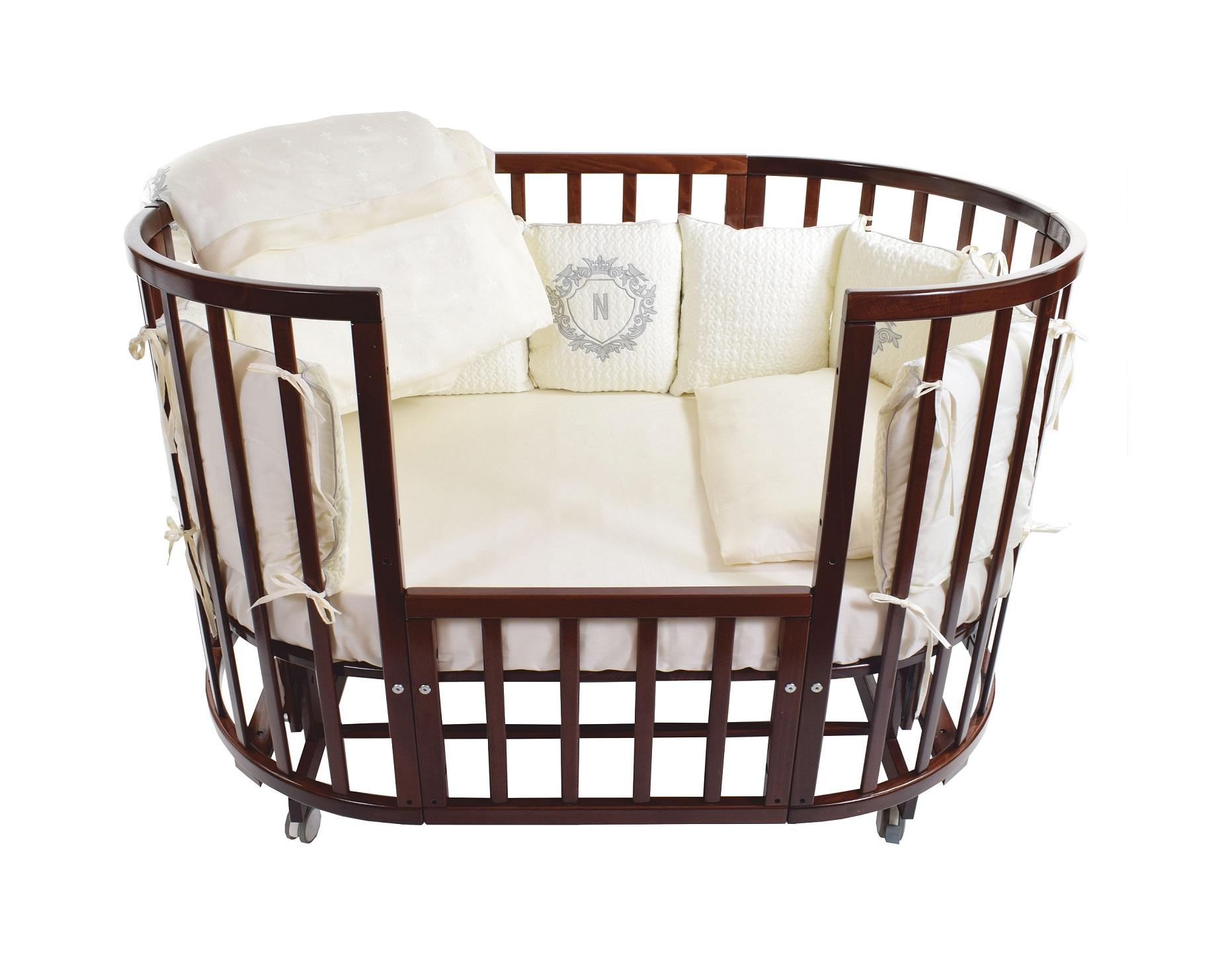 Комплект в кроватку Nuovita Giardino reale, 6 предметов с бортиком из 12 подушек, цвет – шампаньДетское постельное белье<br>Комплект в кроватку Nuovita Giardino reale, 6 предметов с бортиком из 12 подушек, цвет – шампань<br>