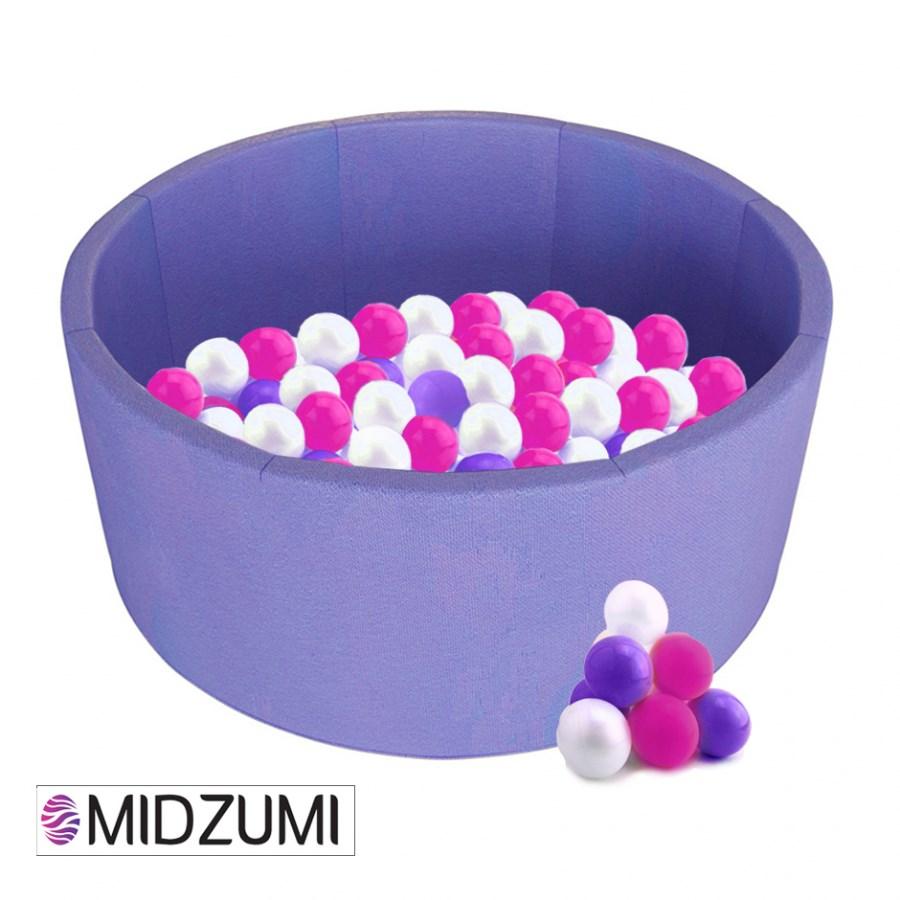 Купить Детский сухой бассейн Midzumi Baby Beach сиреневый + 200 шаров
