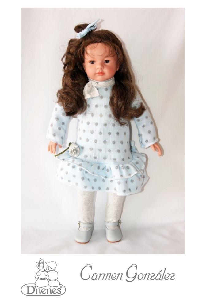 Кукла Паула, 52 см в голубом платье Carmen GonzalezКоллекционные куклы<br>Кукла Паула, 52 см в голубом платье Carmen Gonzalez<br>