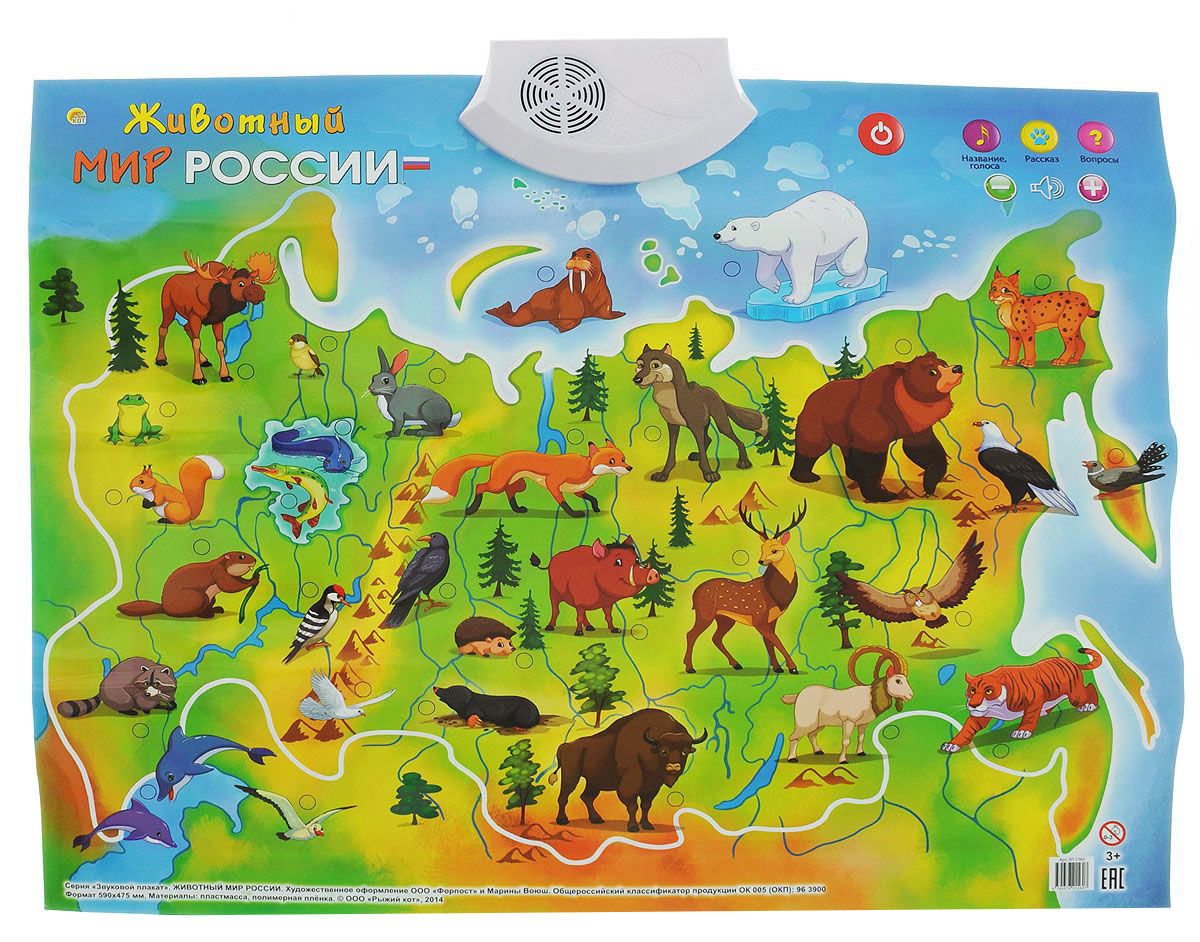 Плакат звуковой  Животный Мир России - Говорящие плакаты, артикул: 162070
