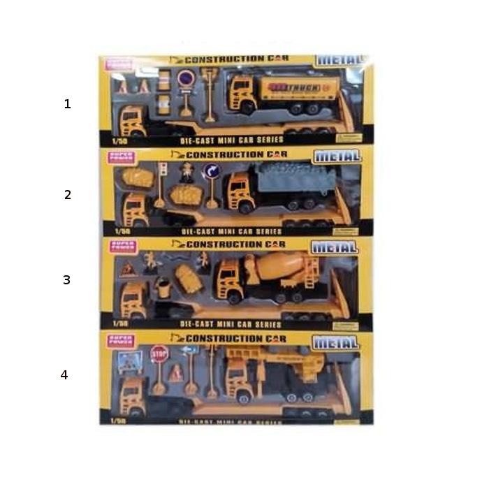 Купить Автовоз металлический в наборе со строительной машинкой и аксессуарами, 4 вида, JUNFA TOYS