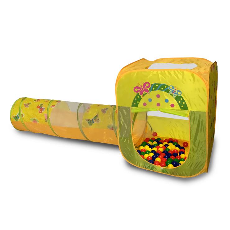 Игровой домик квадратный с туннелем и 100 шариками CBH-23, цветной