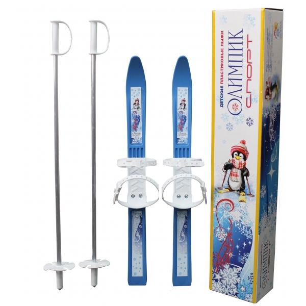 Лыжи детские Олимпик-Спорт, длина лыж – 66 см., палок - 75 см, крепление мягкое пластиковое