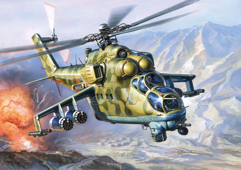 Купить Модель для склеивания - Советский вертолет, ударный Ми-24 В/ВП Крокодил, ZVEZDA