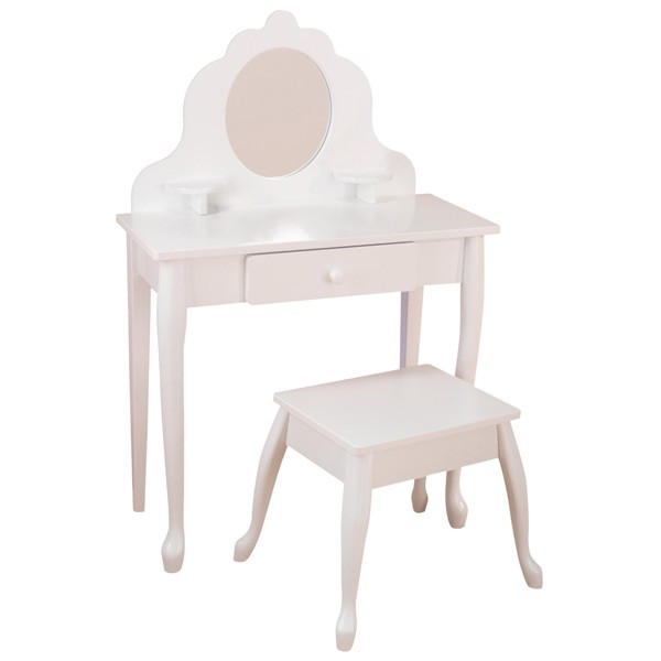 Белый туалетный столик из дерева для девочки – Модница White Medium Vanity & Stool - Юная модница, салон красоты, артикул: 160293