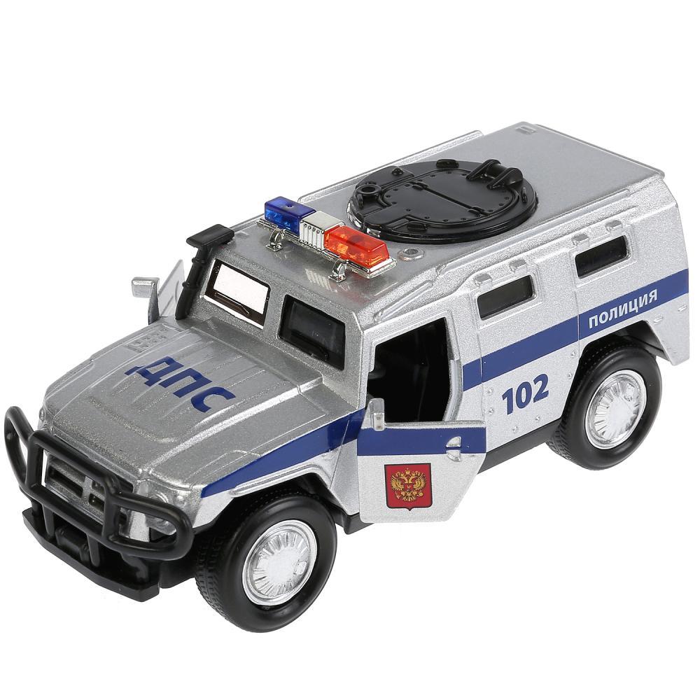 Купить Машина металлическая Бронемашина Полиция, 12 см., свет и звук, открываются двери, инерционная, Технопарк