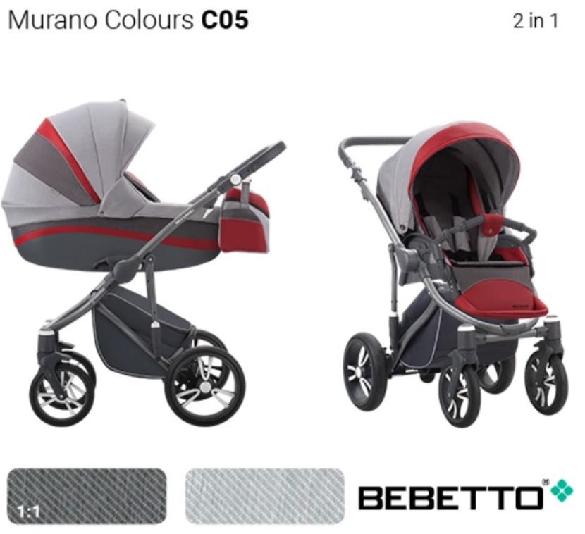 Купить Детская коляска Murano Colours 2 в 1, шасси матовый графит/GRM C05, Bebetto