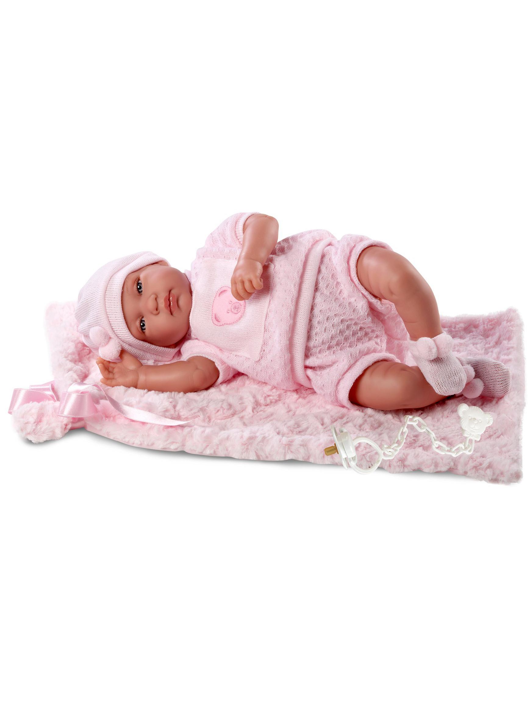 Кукла младенец со звуком в розовом костюмчике, 43 см., с одеяломИспанские куклы Llorens Juan, S.L.<br>Кукла младенец со звуком в розовом костюмчике, 43 см., с одеялом<br>