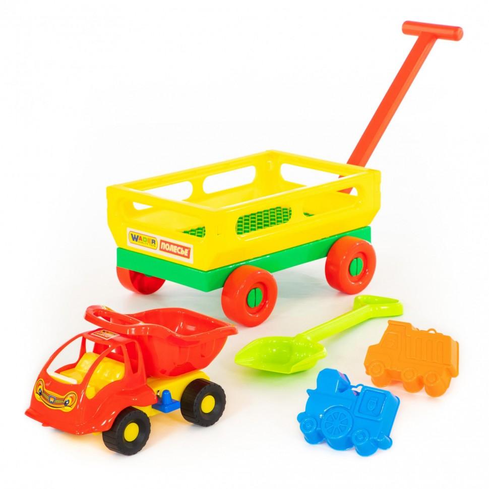 Купить Набор №495: тележка с ручкой №2, автомобиль-самосвал Муравей, лопата средняя, формочки, Полесье