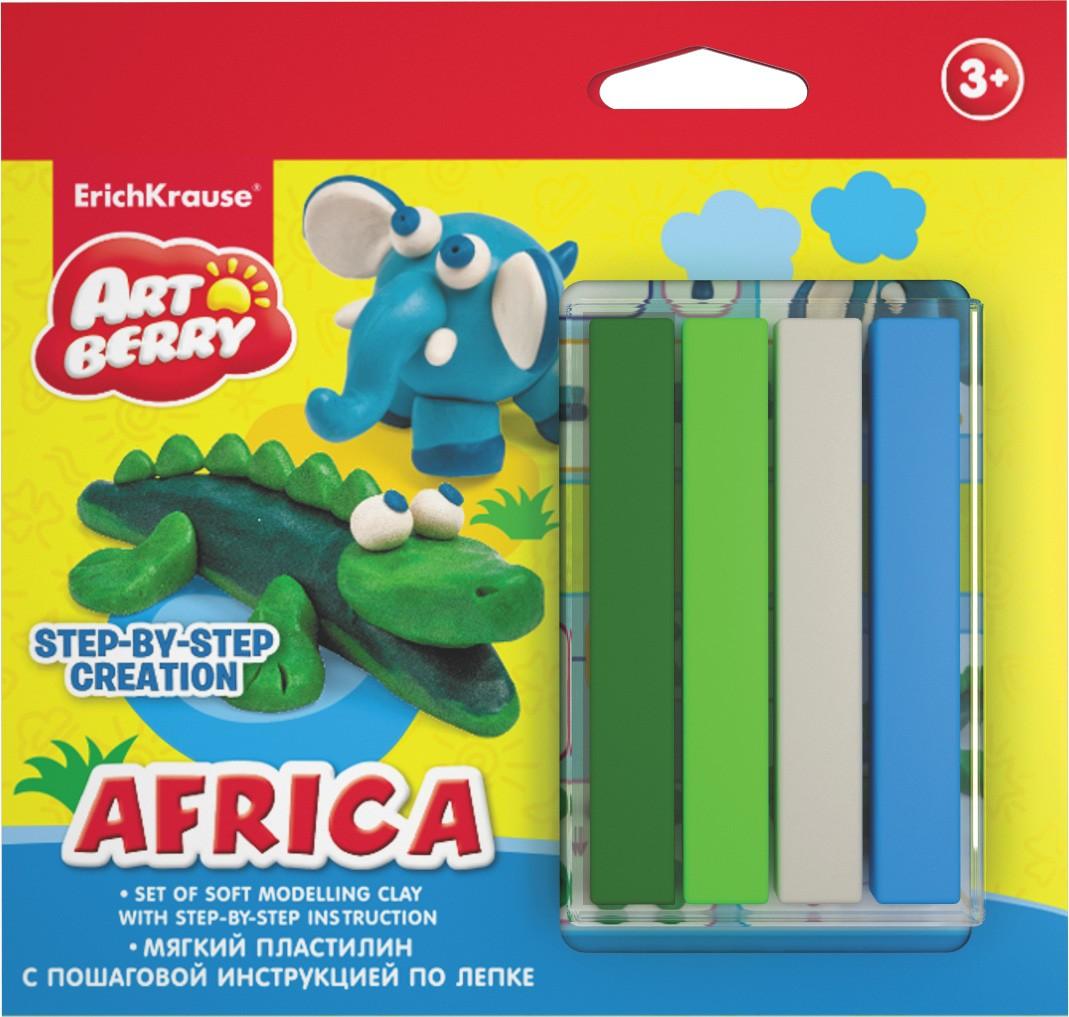 Купить Набор для лепки - Африка с мягким пластилином 4 цветов и пошаговой инструкцией, Erich Krause
