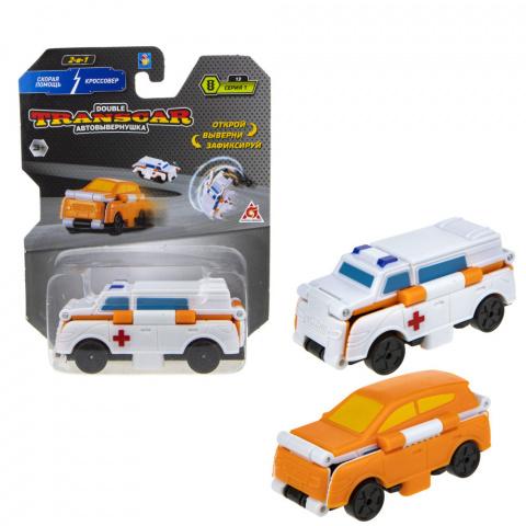 Автовывернушка Transcar 2 в 1: Скорая помощь – Кроссовер, 8 см 1TOY