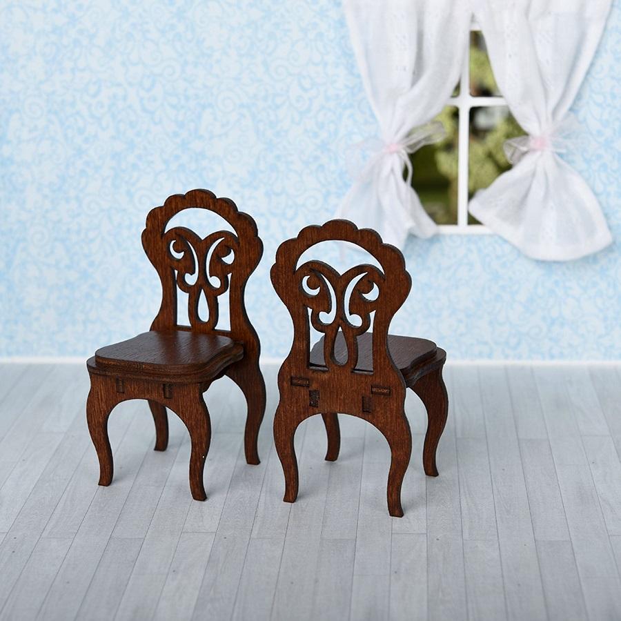 Мебель для кукольного домика - 2 стула, цвет – коричневыйКукольные домики<br>Мебель для кукольного домика - 2 стула, цвет – коричневый<br>