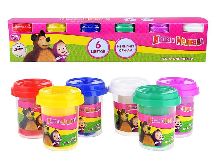 Набор Маша и Медведь - Тесто для лепки, 6 цветов sim)Маша и медведь игрушки<br>Набор Маша и Медведь - Тесто для лепки, 6 цветов sim)<br>