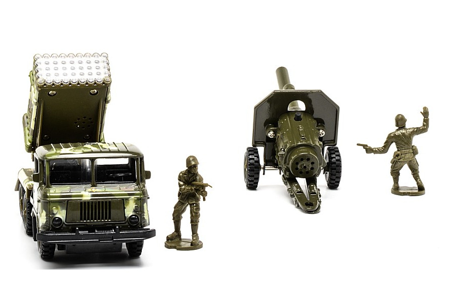 Машина металлическая инерционная -  ГАЗ 66 - Военный с пушкой на прицепе, со световыми и звуковыми эффектами sim)Военная техника<br>Машина металлическая инерционная -  ГАЗ 66 - Военный с пушкой на прицепе, со световыми и звуковыми эффектами sim)<br>