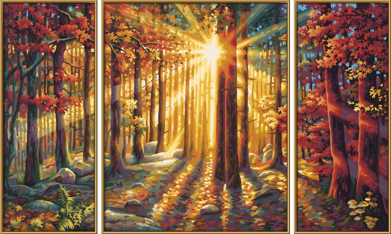 Триптих для раскрашивания - Осенний лес, 50х80 см.Раскраски по номерам Schipper<br>Триптих для раскрашивания - Осенний лес, 50х80 см.<br>
