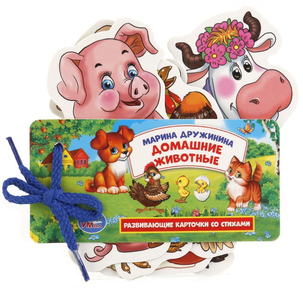 Купить Развивающие карточки на шнурке – Домашние животные, М. Дружинина, Умка