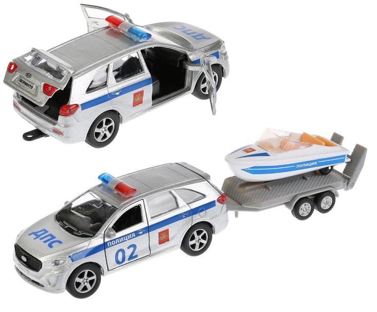 Купить Инерционная металлическая машина Kia Sorento Prime - Полиция, 12 см с лодкой 7, 5 см., Технопарк