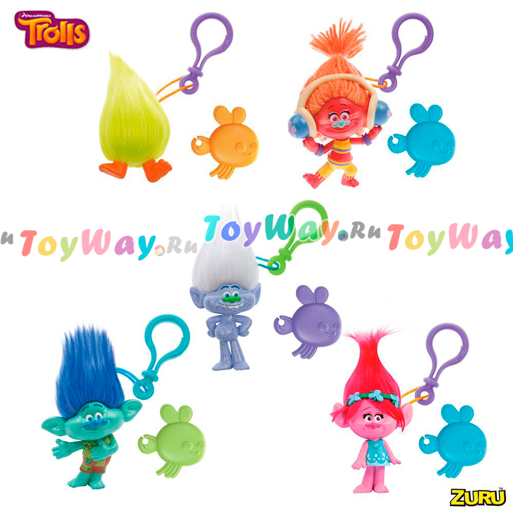 Фигурка – Trolls, на брелоке в наборе с расческой - Тролли игрушки, артикул: 144713