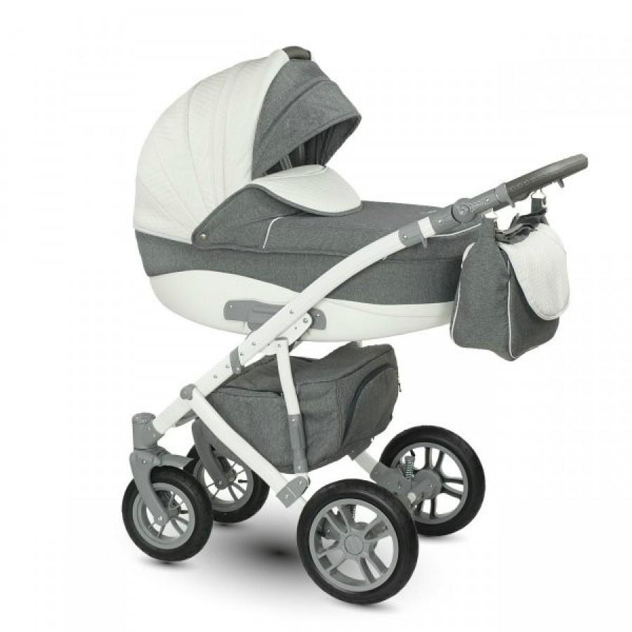 Детская коляска Camarelo Sirion 2 в 1, бело-сераяДетские коляски 2 в 1<br>Детская коляска Camarelo Sirion 2 в 1, бело-серая<br>