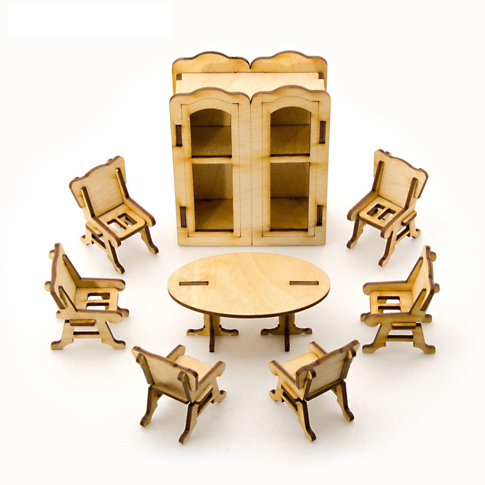 Сборная деревянная модель для кукольного домика - Столовая, 8 позиций по цене 238