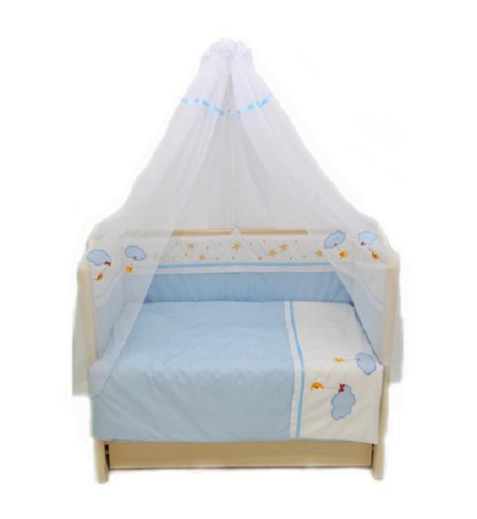 Комплект в кроватку - Звездочка, 7 предметов, голубойДетское постельное белье<br>Комплект в кроватку - Звездочка, 7 предметов, голубой<br>