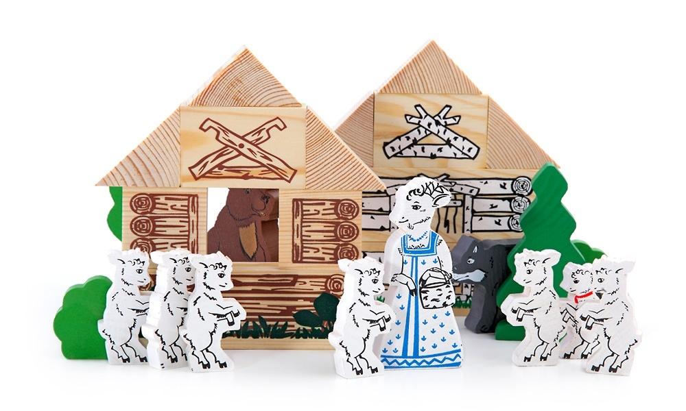 Конструктор - Волк и семеро козлят из серии СказкиКубики<br>Конструктор - Волк и семеро козлят из серии Сказки<br>