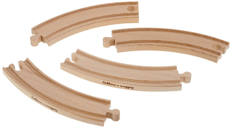 Набор закругленных элементов для деревянной железной дороги, 20,5 см., 4 детали - Железная дорога для малышей, артикул: 157245