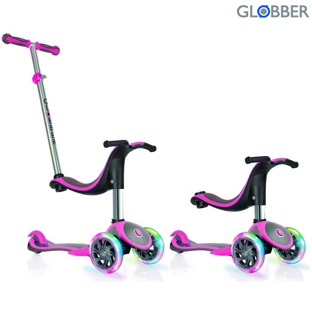 Самокат Globber Evo 454-132 4 in 1 Plus c подножками, с 3 светящимися колесами, цвет – Pink