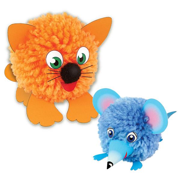 Набор для творчества Игрушки из помпонов - Два пушистика. Котик и мышкаРазные поделки из бумаги<br>Набор для творчества Игрушки из помпонов - Два пушистика. Котик и мышка<br>