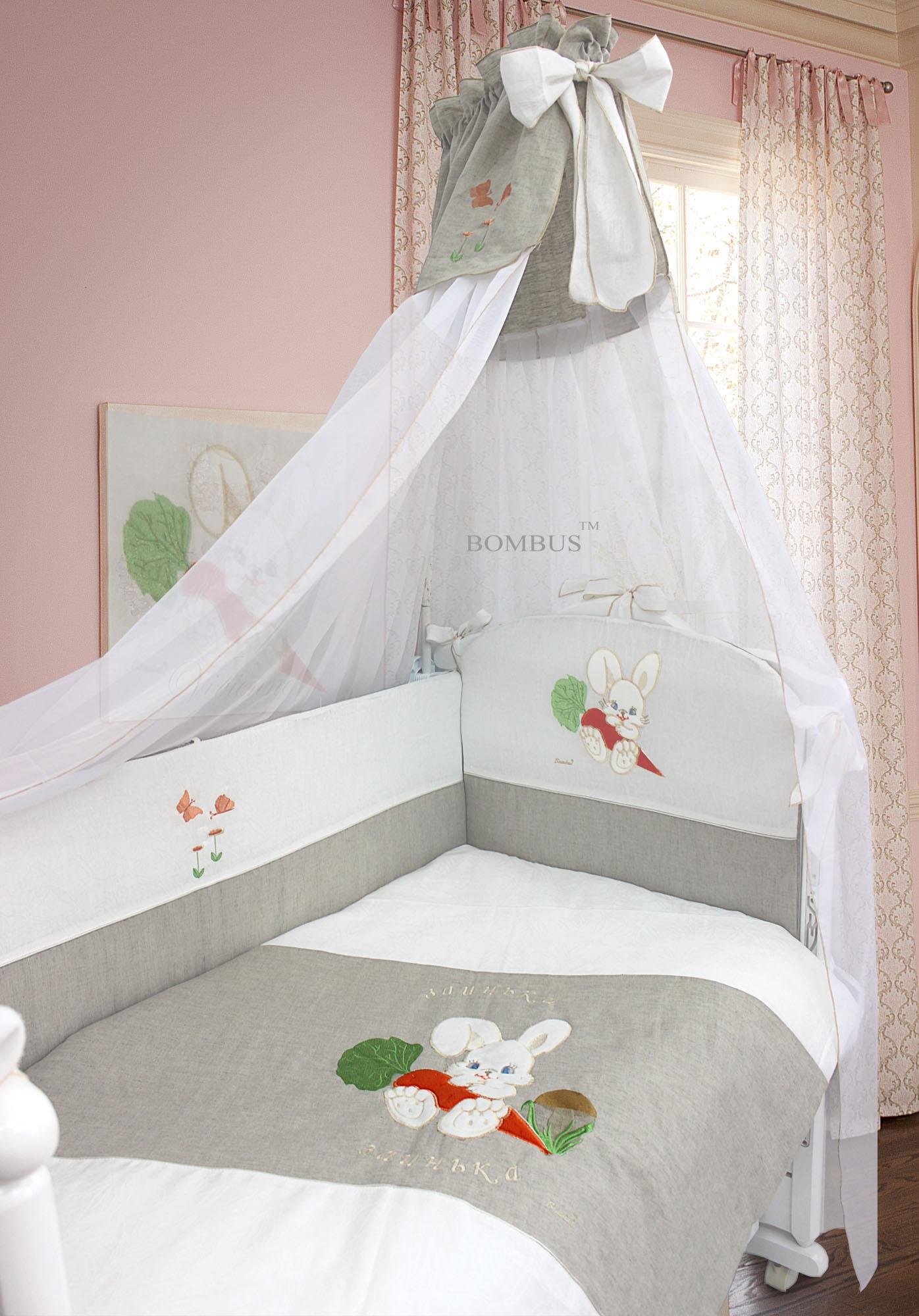 Комплект в кроватку - Зайка, льняной, 7 предметовДетское постельное белье<br>Комплект в кроватку - Зайка, льняной, 7 предметов<br>