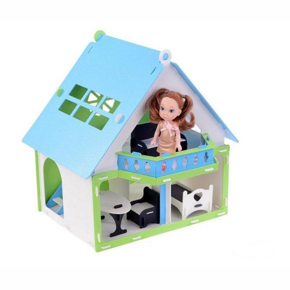 Домик для кукол - Дачный дом Варенька, бело-голубой, с мебелью