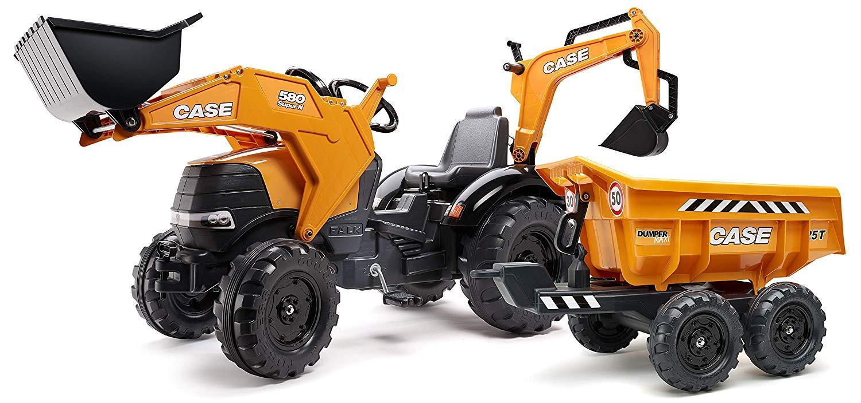 Трактор-экскаватор педальный c ковшом и прицепом, желтый, 225 см