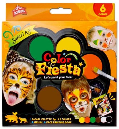 Грим-краски для лица Cафари,  6 цветов и кисточкаГрим для лица и тату<br>Грим-краски для лица Cафари,  6 цветов и кисточка<br>