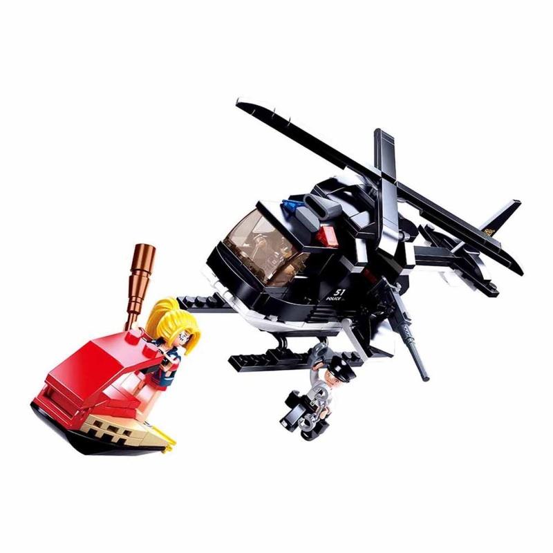 Купить Конструктор – Полиция: Вертолет с фигурками, 221 деталь, Sluban