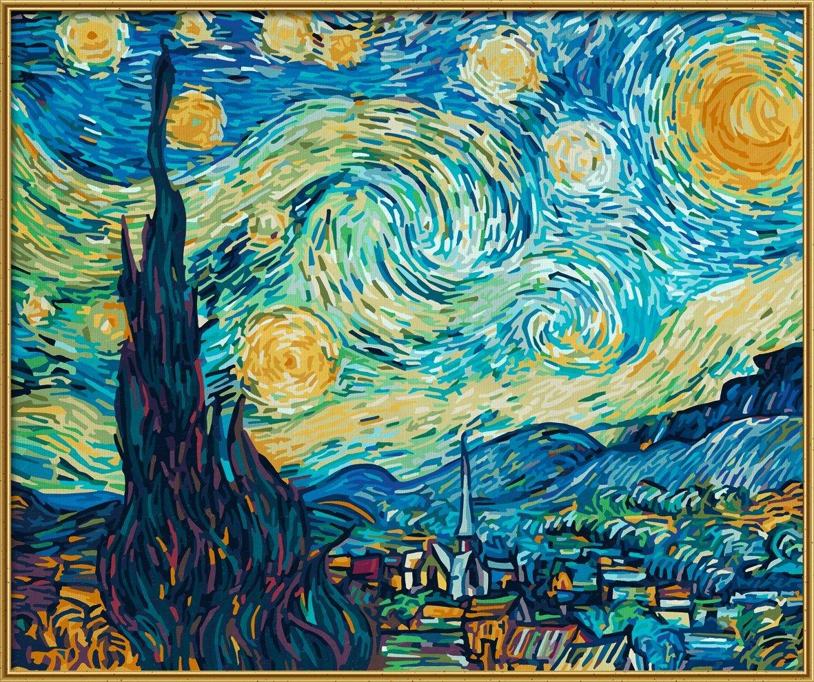 Купить Раскраска по номерам – Звёздная ночь, художник Ван Гог, 50 х 60см, Schipper