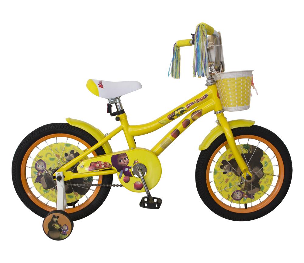 Детский двухколесный велосипед - Маша и Медведь, желтый, колеса 16