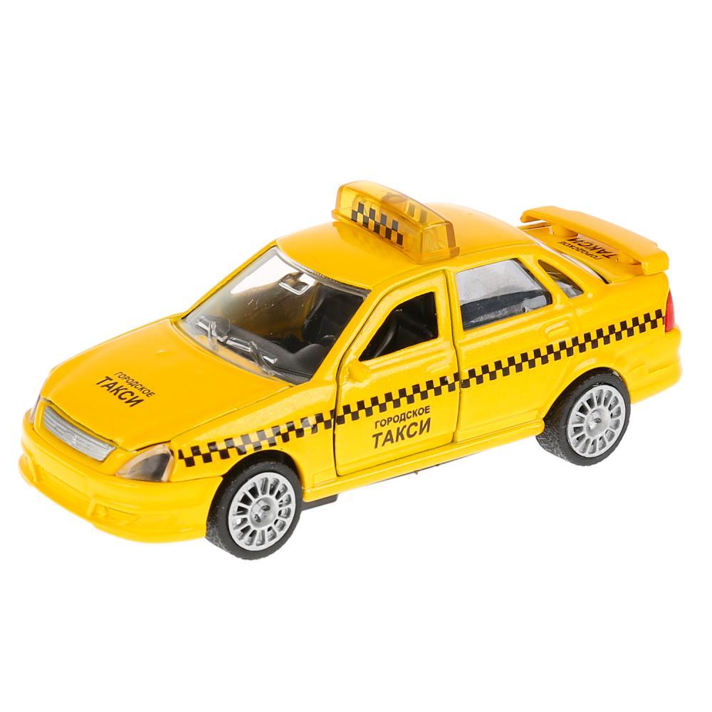 Купить Инерционная машинка LADA Priora - Такси, свет, звук, 1:43, Технопарк