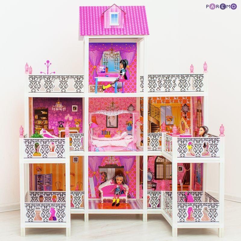 3-этажный кукольный дом, 7 комнат, мебель, 3 куклыКукольные домики<br>3-этажный кукольный дом, 7 комнат, мебель, 3 куклы<br>