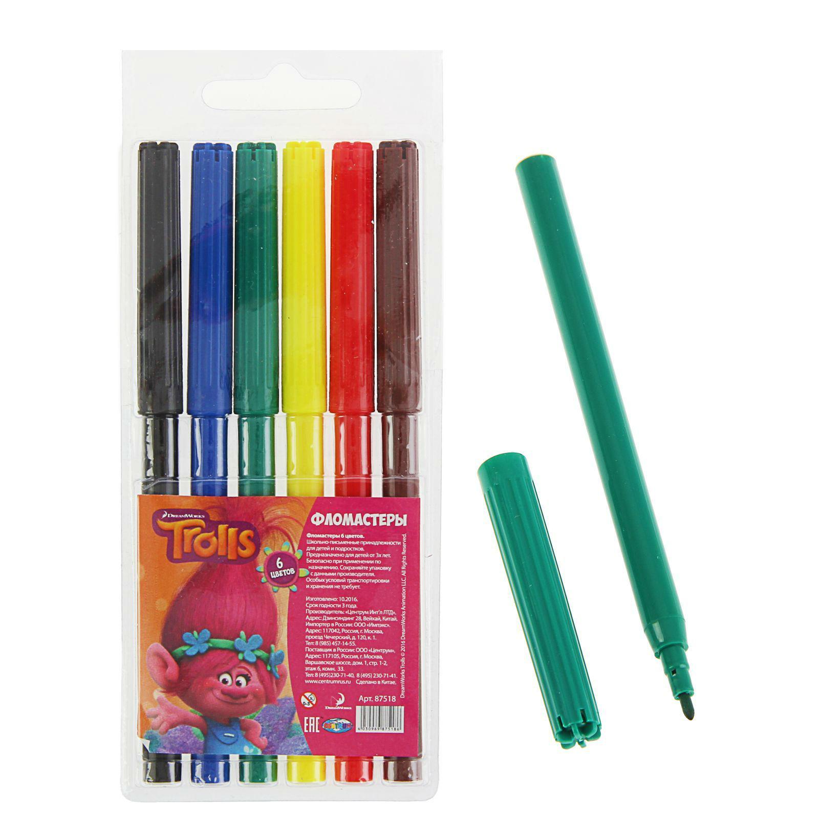 Фломастеры Тролли, 6 цветовФломастеры<br>Фломастеры Тролли, 6 цветов<br>