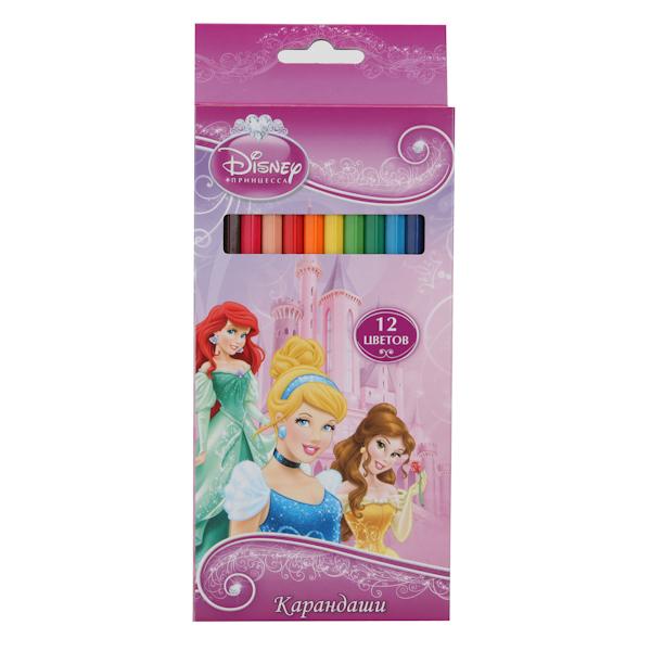 Купить Цветные карандаши 12 цветов Disney Принцессы, Росмэн