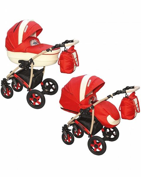 Детская коляска Camarelo Carmela 2 в 1, красно-бежеваяДетские коляски 2 в 1<br>Детская коляска Camarelo Carmela 2 в 1, красно-бежевая<br>