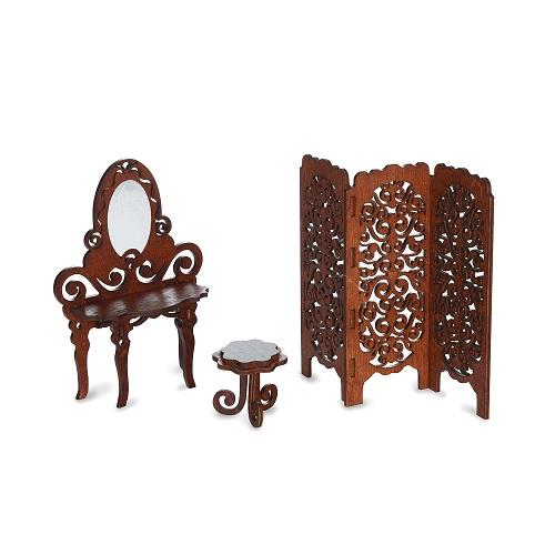 Набор Одним прекрасным утром – Будуар: туалетный столик, табурет, ширма, коричневый - Кукольные домики, артикул: 175579