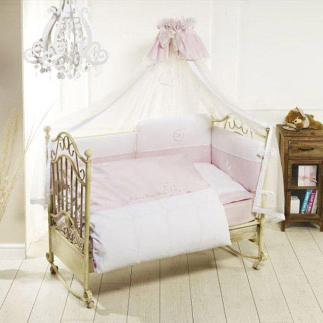 Комплект постельного белья Petit Bebe, 6 предметов, розовыйДетское постельное белье<br>Комплект постельного белья Petit Bebe, 6 предметов, розовый<br>