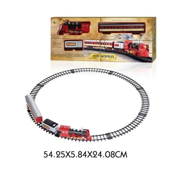 Купить Железная дорога Ретро Экспресс свет, звук, дым, паровоз, 2 вагона, 11 деталей, 1TOY