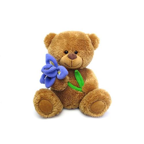 Мягкая игрушка - Медвежонок Сэмми с ирисом, музыкальный, 17,5 см.