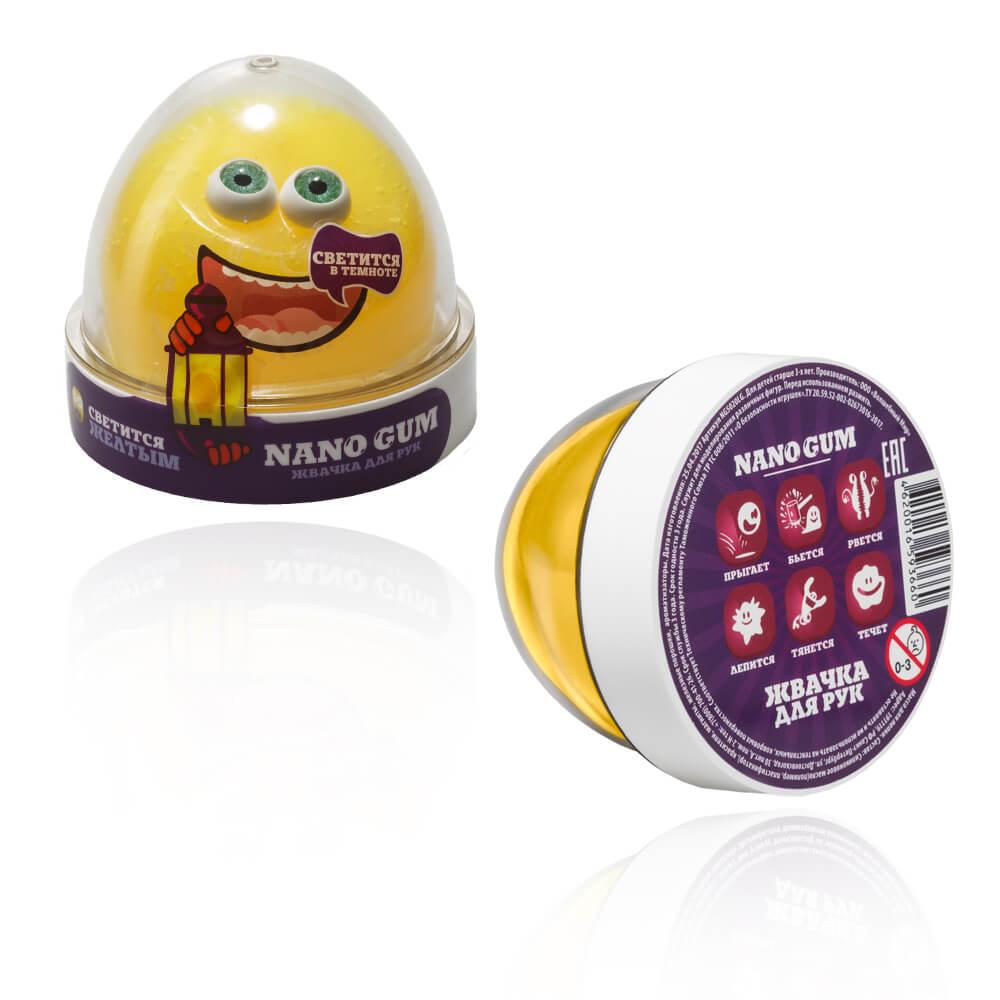 Жвачка для рук из серии Nano gum светится желтым, 50 гр. фото