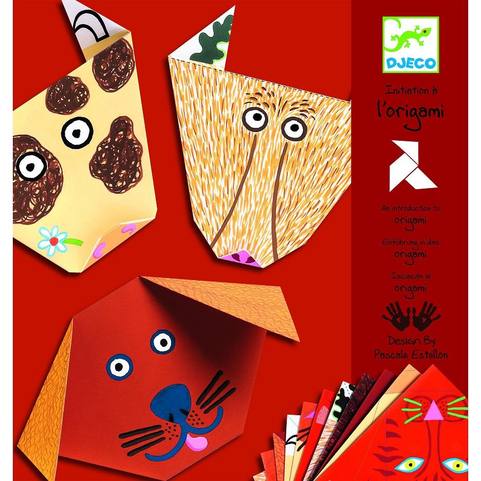 Купить Набор для творчества из серии Оригами - Бумажные животные, с наклейками, Djeco
