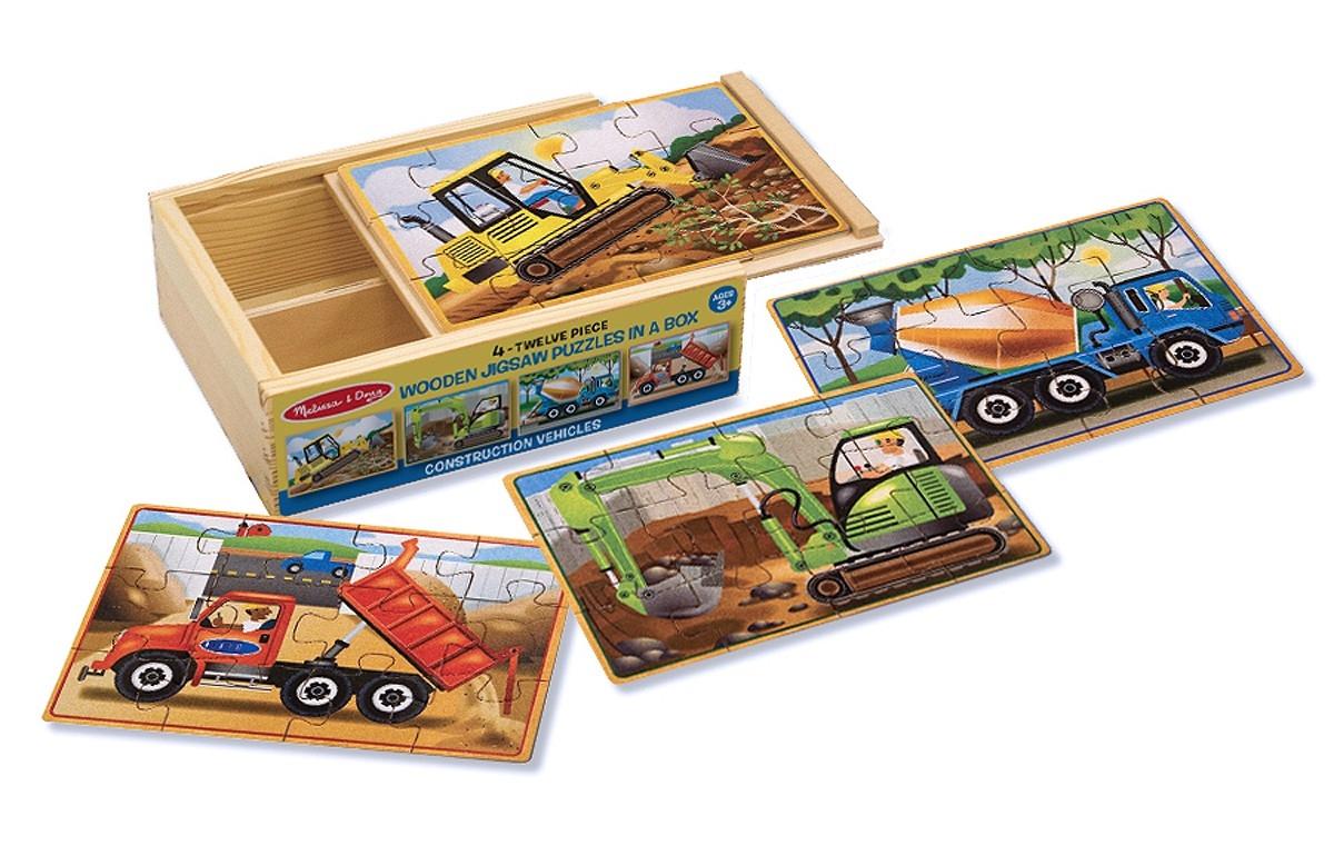 Деревянные пазлы в коробке СтроительствоПазлы для малышей<br>Деревянные пазлы в коробке Строительство<br>