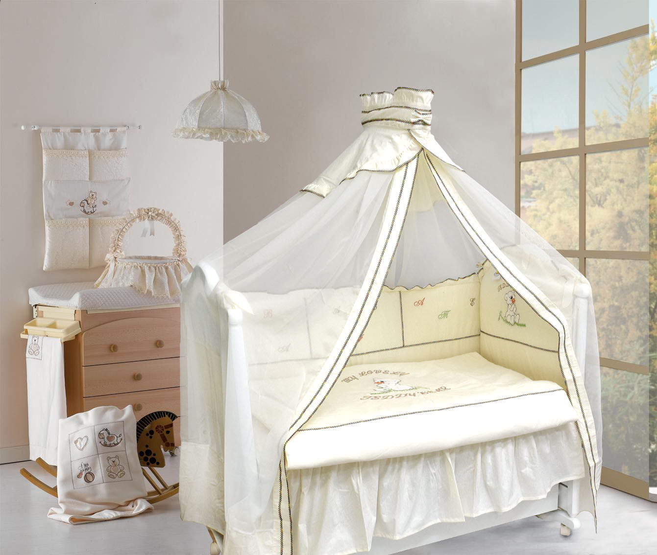 Комплект в кроватку – Тедди Бир, 8 предметов, бежевыйДетское постельное белье<br>Комплект в кроватку – Тедди Бир, 8 предметов, бежевый<br>